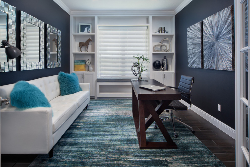 Inspiration for a mid-sized transitional freestanding desk porcelain tile study room remodel in Orlando with black walls