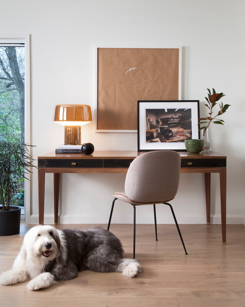 Inspiration for a contemporary freestanding desk medium tone wood floor and brown floor home office remodel in Austin with white walls