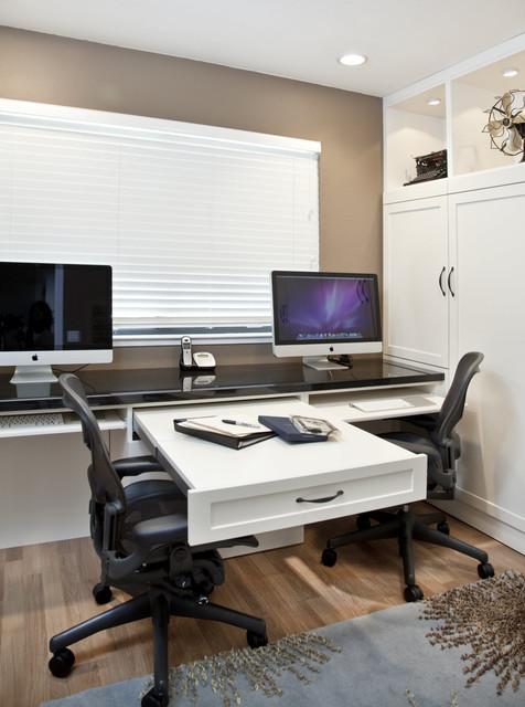 Side Tilt Wall Bed & Custom Cabinetry in Home Office traditional home office