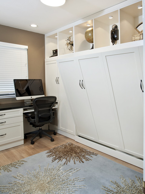 Side Tilt Wall Bed & Custom Cabinetry in Home Office traditional-home-office
