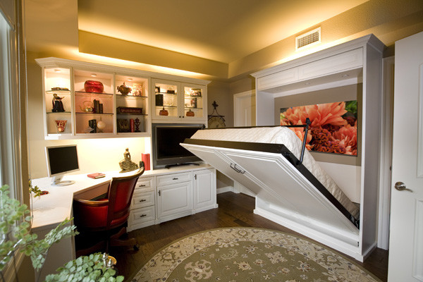 Siena Collection White Home Office With Wall Bed By Valet Custom Cabinets Clos Traditional