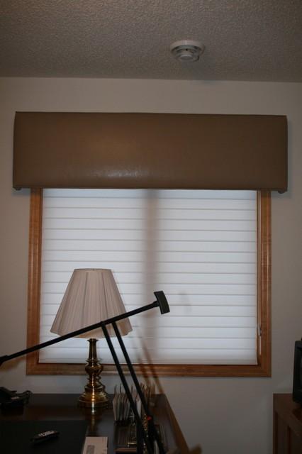 Simple Faux Leather Cornice Covering Custom Window