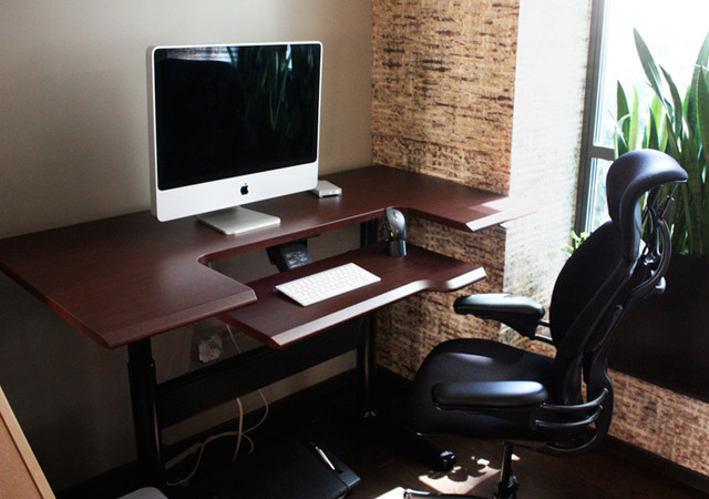 sit stand height adjustable desk modern home office