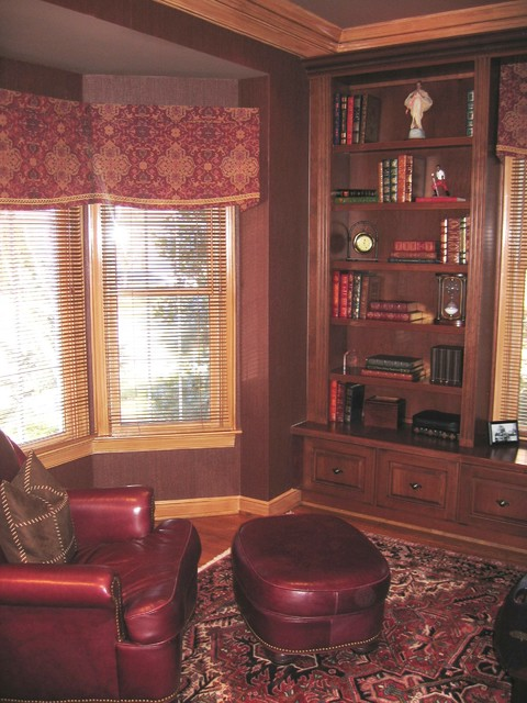 LEATHER AND WOOD LIBRARY traditional-home-office