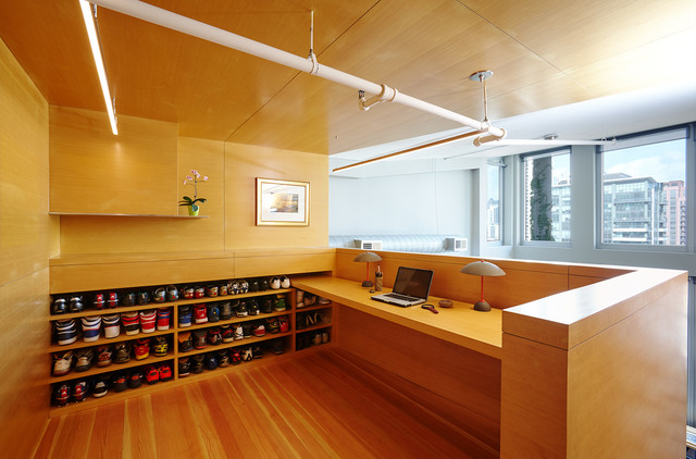 sleek lines modern home office and library