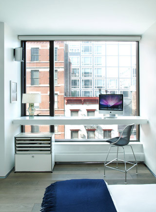 soho loft master bedroom desk modern home office