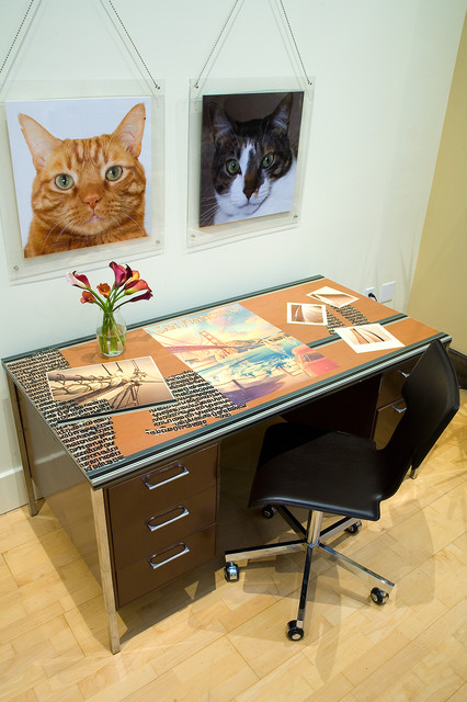 SOMA Loft - Desk and Pet portraits by Kimball Starr Interior Design contemporary home office