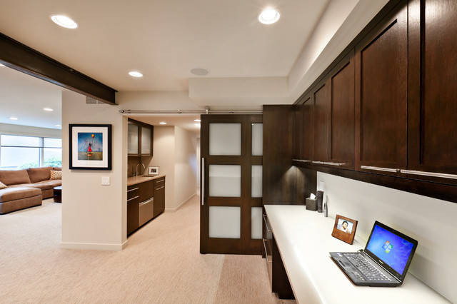 somerset basement sliding track door - contemporary