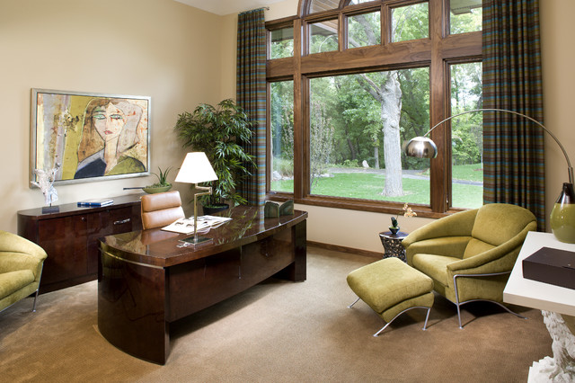 Trendy Freestanding Desk Carpeted Home Office Photo In Minneapolis With  Beige Walls