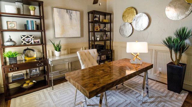 Ordinaire Sophisticated Mid Century Modern Office Touches Of Metallic Glam Midcentury  Home Office