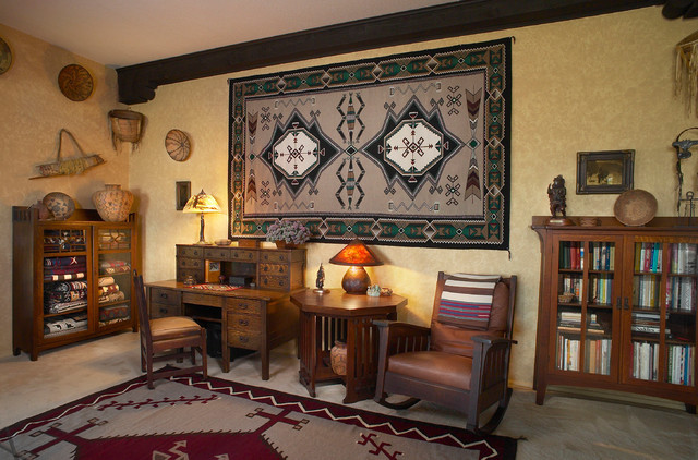 Example Of A Large Southwest Freestanding Desk Carpeted Study Room Design In Phoenix With No Fireplace