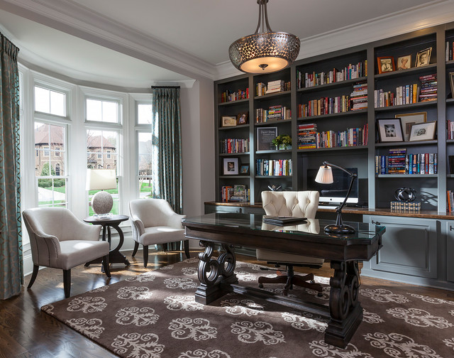 Spacious Office Transitional Home Office Charlotte By Lauren Nicole Designs