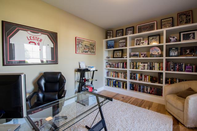 Mid Sized Trendy Freestanding Desk Light Wood Floor Study Room Photo In  Burlington With Beige