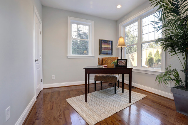 staged listing new contruction by staged home decor transitional home office