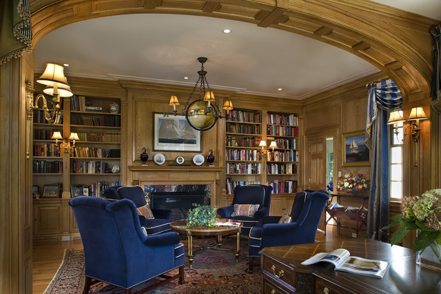 stately manor Traditional Home Office Library Philadelphia