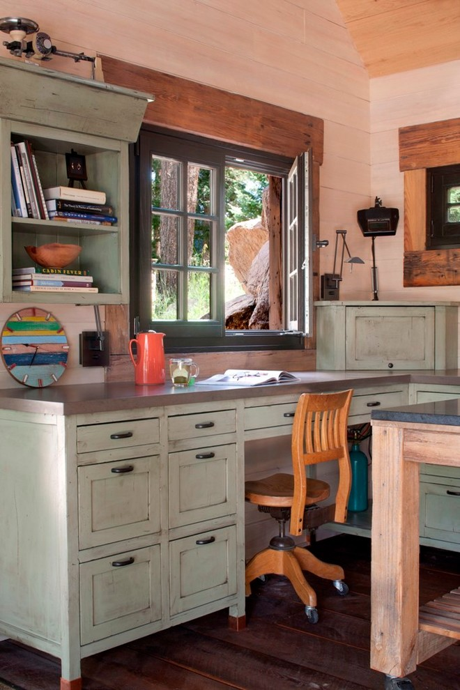 Home office - shabby-chic style built-in desk home office idea in Denver