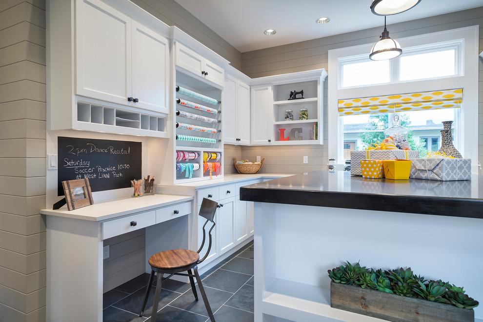 Example of a trendy gray floor craft room design in Portland