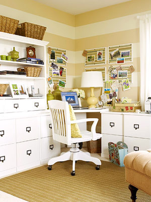 Striped Tan & White Office eclectic home office
