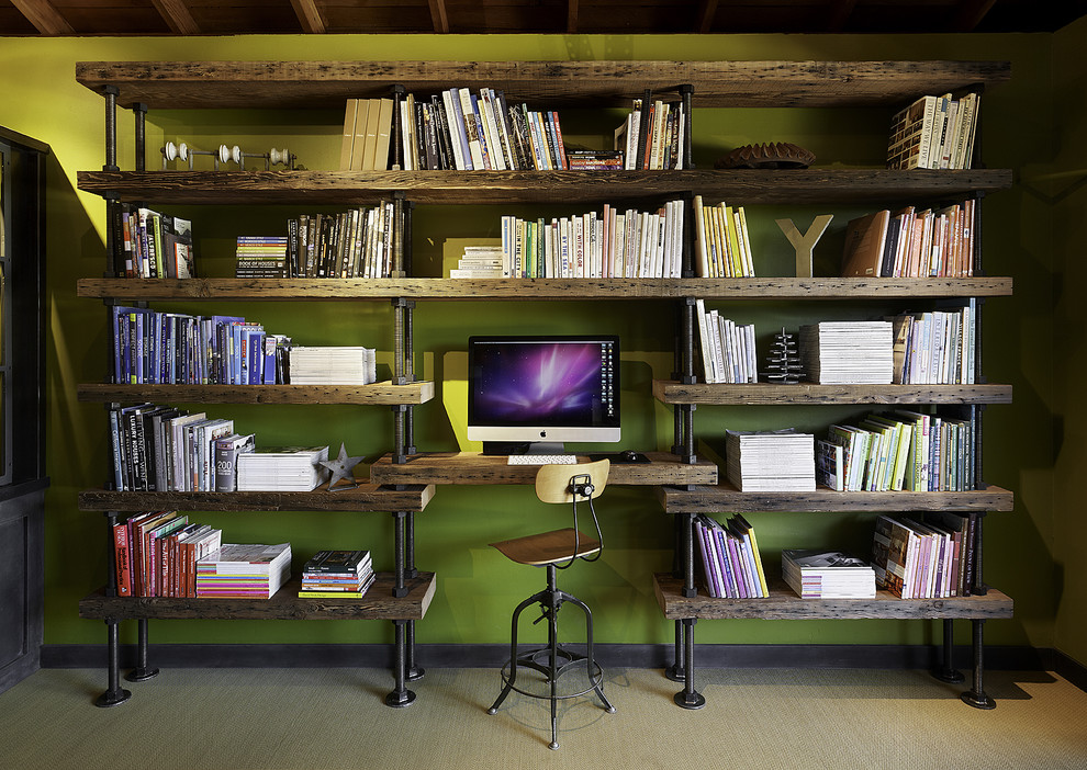 Inspiration for a large contemporary built-in desk carpeted home studio remodel in San Francisco with green walls