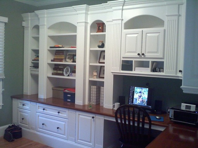 Study home office built ins traditional home office boston by custom home finish - Houses built inhours ...