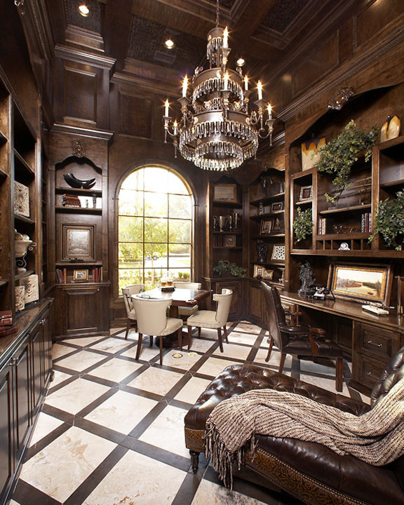 Home office - mediterranean home office idea in Houston