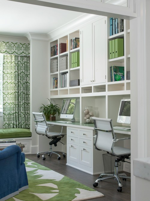 Transitional Home Office by Menlo Park Interior Designers & Decorators Johnston Home LLC