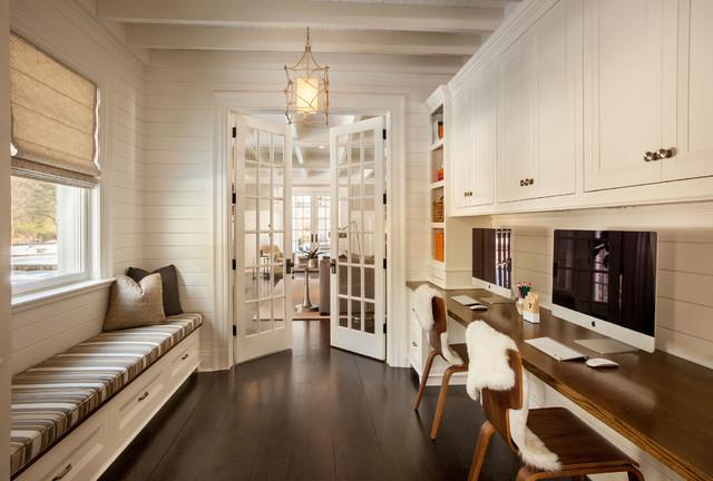 Attractive Mid Sized Elegant Built In Desk Dark Wood Floor Study Room Photo In New