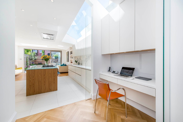 study space and kitchen with huge skylights contemporary-home-office-and-library