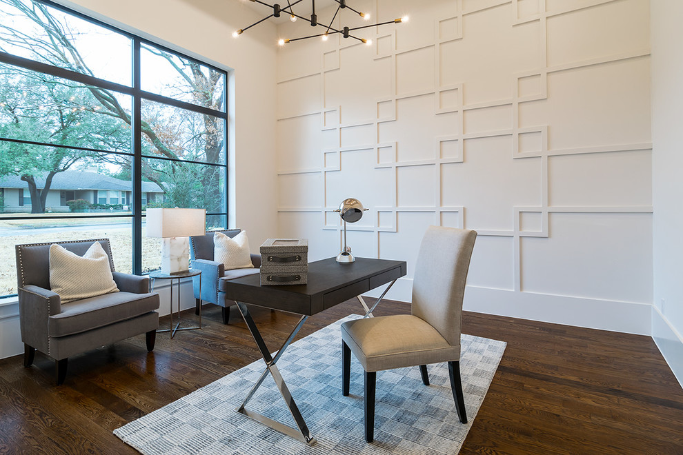 Inspiration for a transitional freestanding desk dark wood floor and brown floor study room remodel in Dallas with white walls