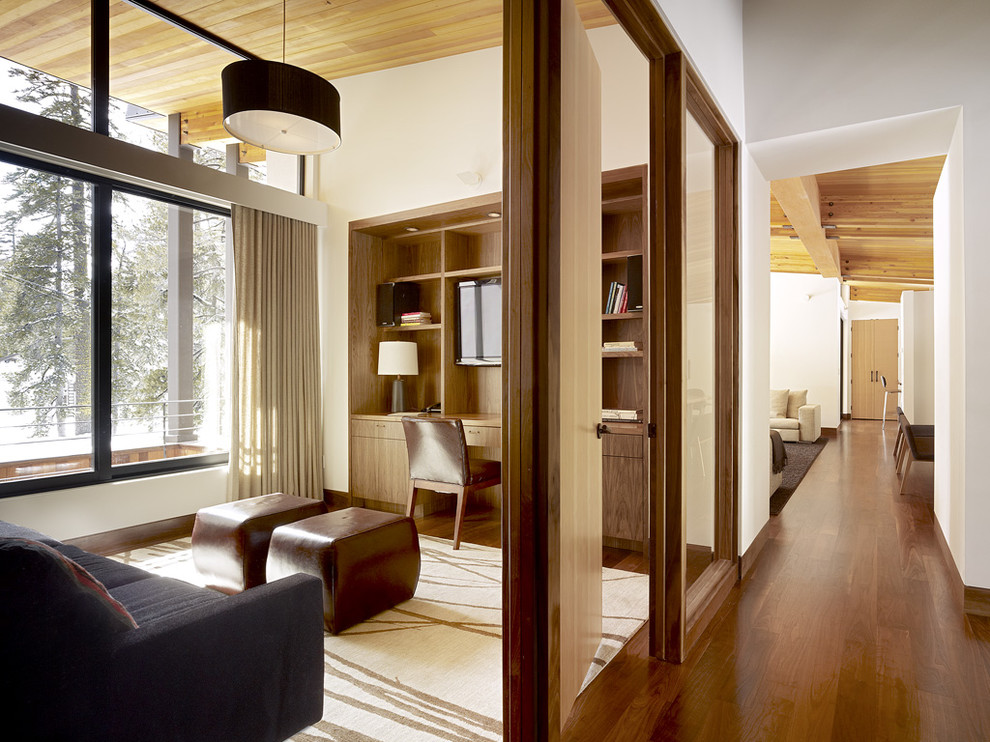 Home office - contemporary built-in desk home office idea in Sacramento