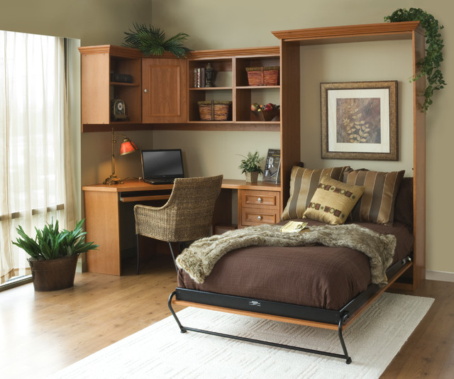 Summer Flame Wood Finished Home Office with Murphy Bed Pull Out contemporary-home-office