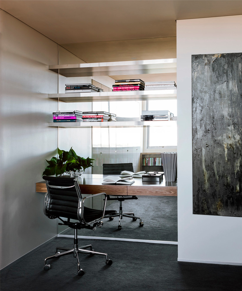 Small trendy built-in desk carpeted and black floor study room photo in Sydney