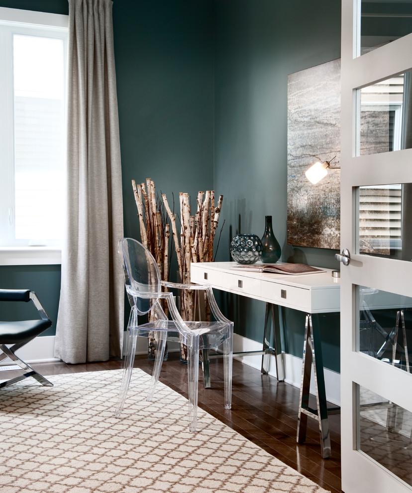 Home office - contemporary freestanding desk dark wood floor home office idea in Ottawa