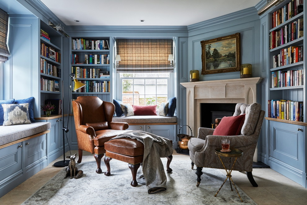 Mid-sized elegant gray floor home office library photo in Brisbane with blue walls