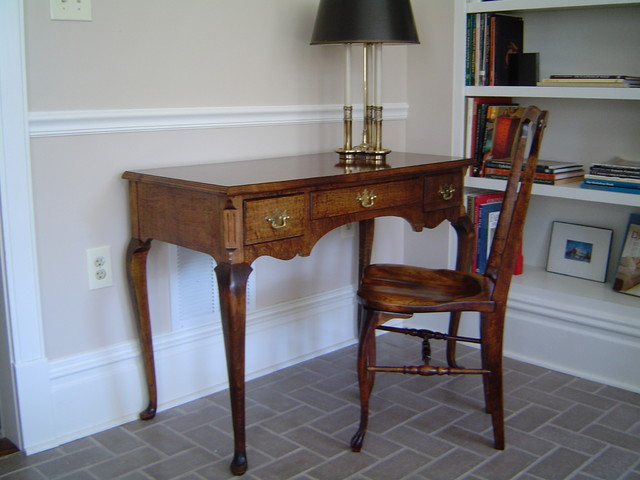 Tiger Maple desk in woodshop office home-office