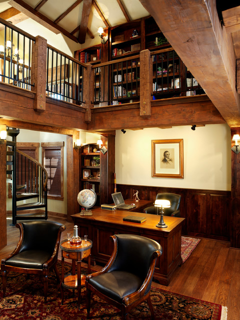 Timber Frame Home Rustic Home Office By Sitka Log Homes