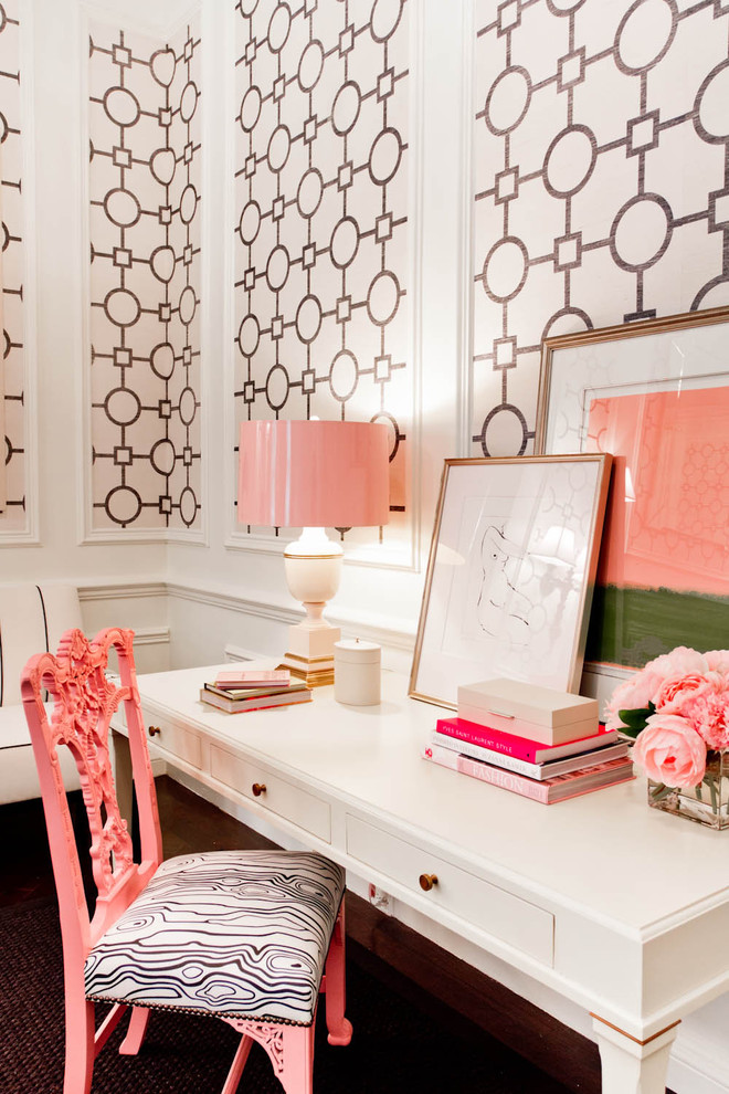 Eclectic freestanding desk home office photo in New York with multicolored walls