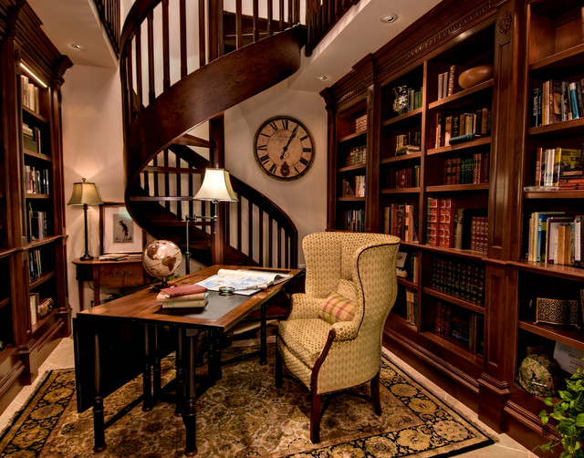 Traditional Library Traditional Home Office And Library