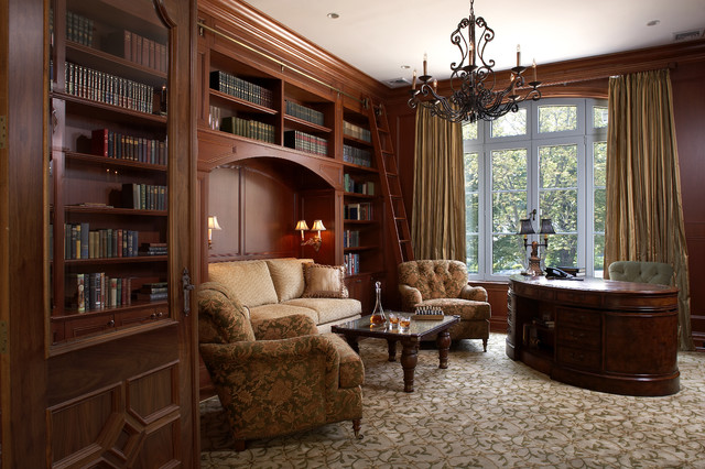 Traditional study traditional home office library for Concept homes llc