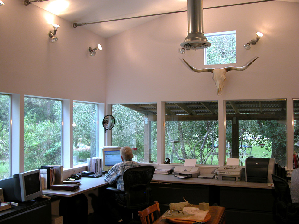 Home office - industrial home office idea in Austin