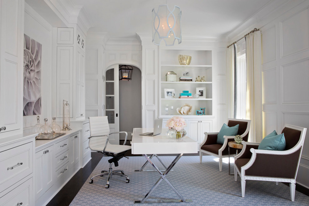 Study room - traditional freestanding desk dark wood floor study room idea in Atlanta with white walls and no fireplace