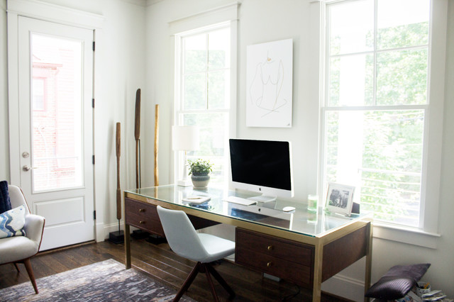 Inspiration for a mid-sized transitional freestanding desk dark wood floor and brown floor home office remodel in DC Metro with gray walls