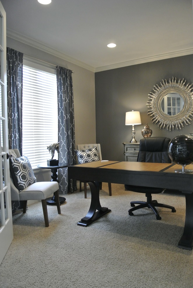 Study room - small transitional freestanding desk carpeted study room idea in Omaha with gray walls