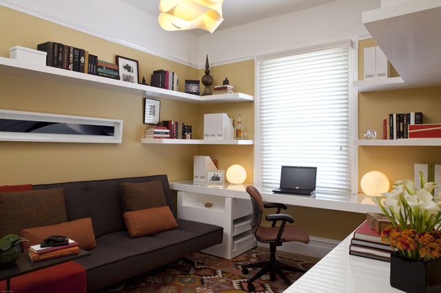 Transitional Home Office With Yellow Walls Modern