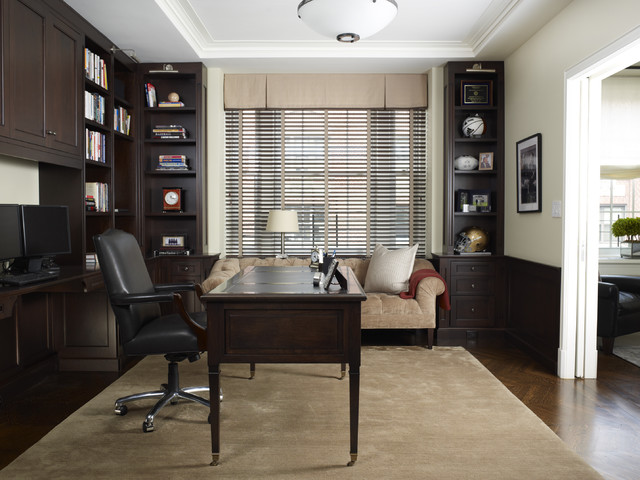 Transitional library traditional home office for Office design houzz