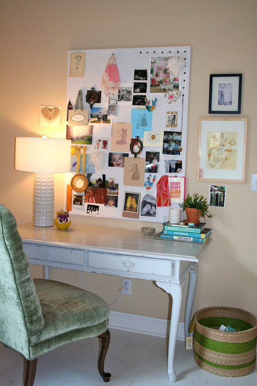 a big simple white pin board. I used to buy inexpensive ...