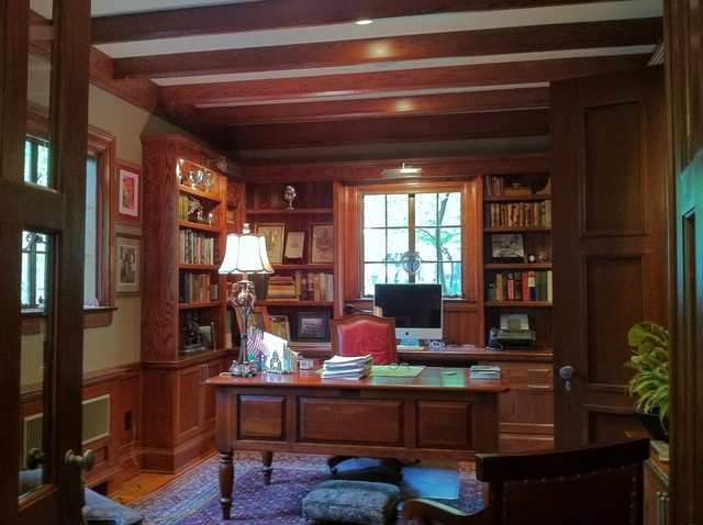 Tudor Study Traditional Home Office Library Cedar Rapids By Monarch Renovations