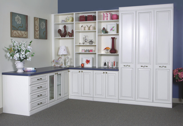 Twin Murphy bed with lots of storage... Perfect for your guests or child's room traditional-home-office