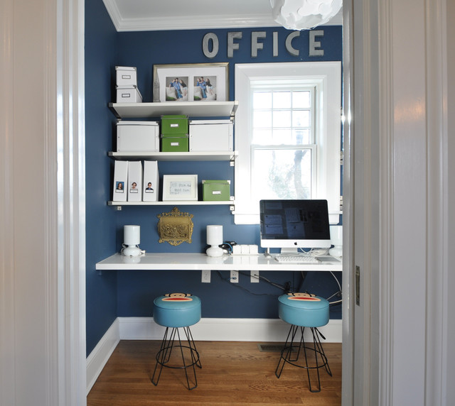 Two story addition eclectic home office newark by for Home office additions