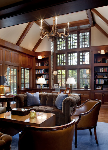Two Story Library Traditional Home Office Boston By The Remodeling Company